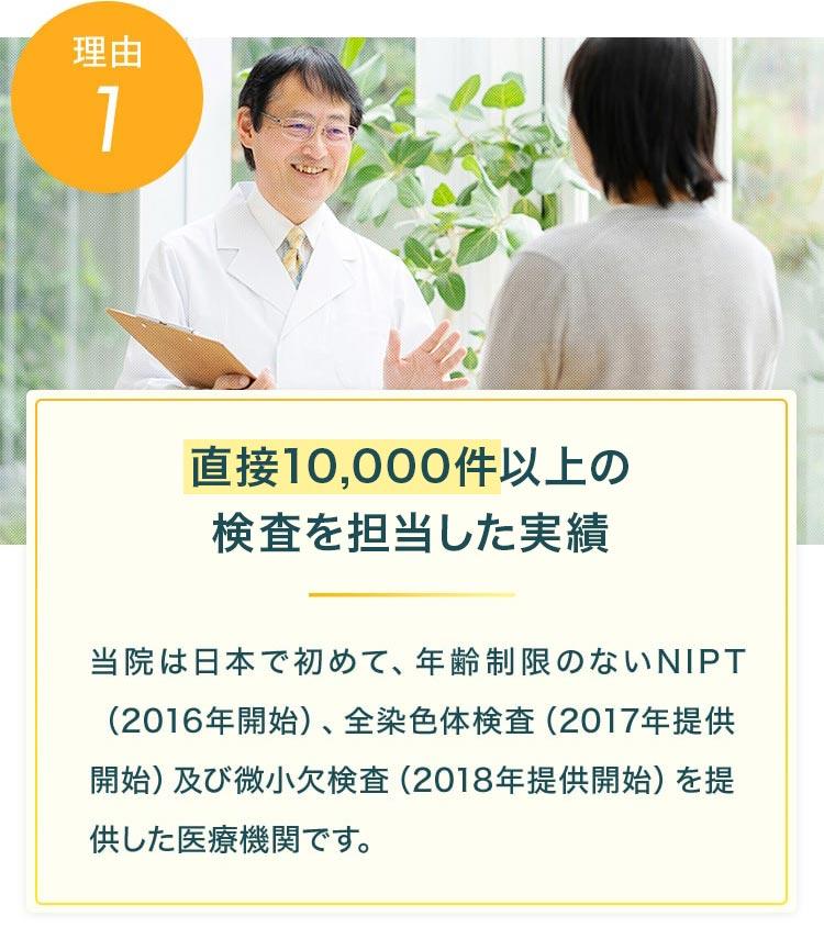 理由1 直接10,000件以上の検査を担当した実績 当院は日本で初めて、年齢制限のないNIPT(2016年開始)、全染色体検査(2017年提供開始)及び微小欠検査(2018年提供開始)を提供した医療機関です。